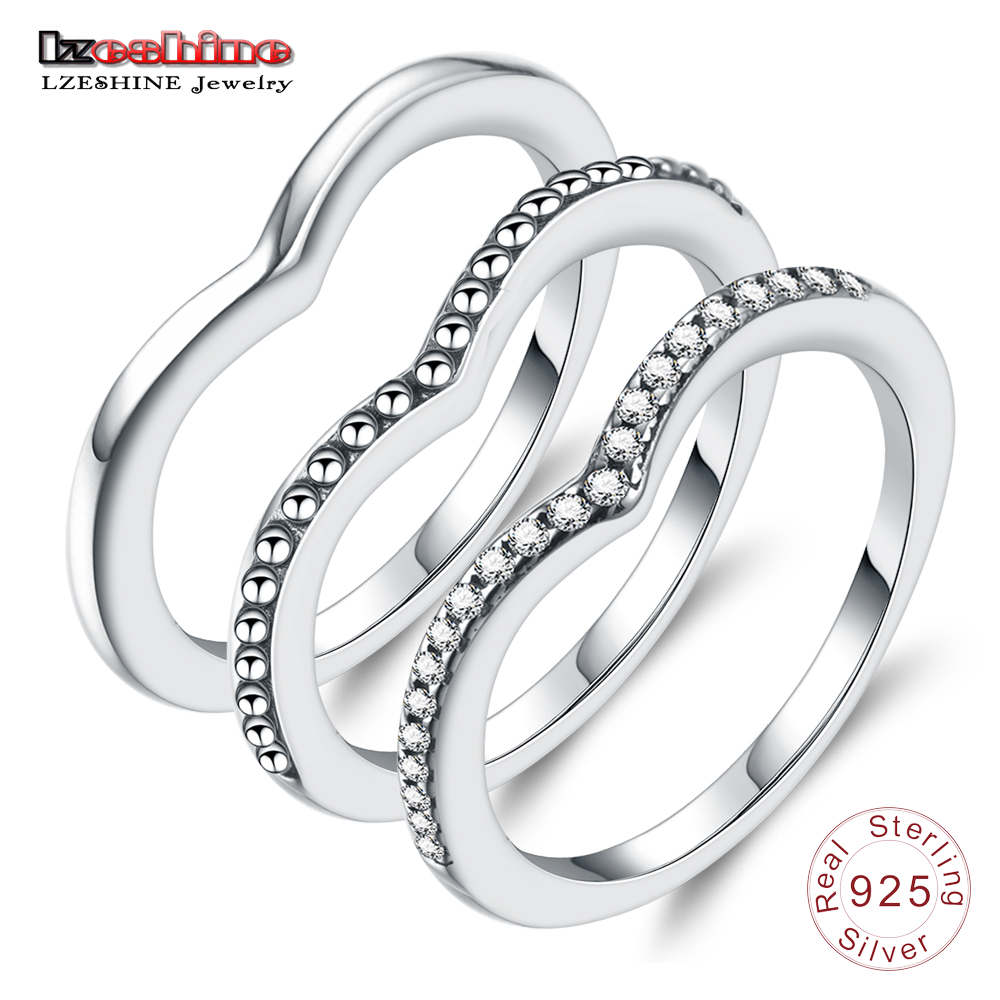LZESHINE 100% 925 Sterling Silver Shimmering Wish Rings With Clear CZ Stackable Finger Rings for Women Silver Charming Jewelry недорого