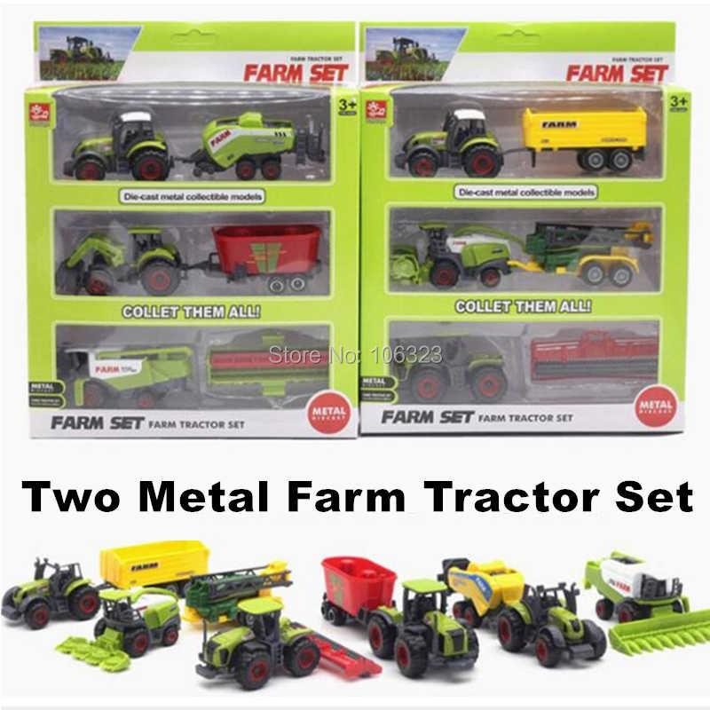 Diecast Petani Mainan Kendaraan Die-Cast Logam Koleksi Model Mobil, Traktor Pertanian Tanaman Trailer Bermain Set, mengumpulkan Mereka Semua