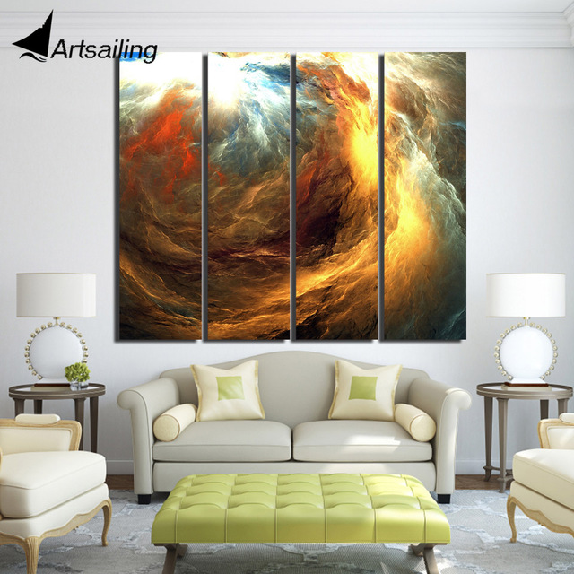 4 piece Printed abstract gold clouds wonders Painting Canvas framed ...