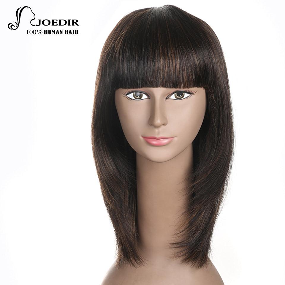 Joedir pelo brasileño recto Remy pelo 16 pulgadas medias pelucas - Productos de belleza