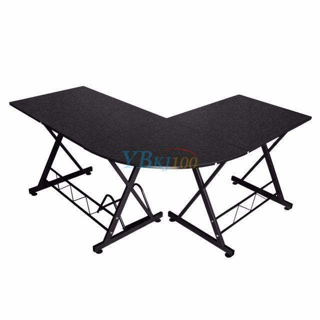 L Shaped Computer PC Table Home Study Office Furniture Corner Desk  Workstation Black Color