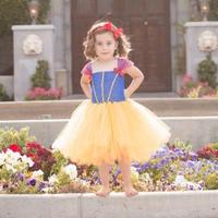 Princess Tutu Snow White Girl Dress Baby Kids Birthday Party Tutu Dresses Photo Props Photos Easter Party Costume for Children