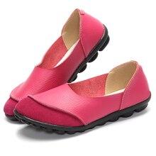 Новый Женская обувь на плоской подошве женские мягкие Лоферы обувь на плоской подошве для отдыха Дамская обувь без шнуровки Туфли без каблуков 5 цветов Chaussures EN Cuir обувь размеры 35–43