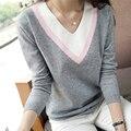 Новый высокое качество Нового 2016 Весна Осень женщины трикотажные рубашки с длинными рукавами верхняя одежда V-образным Вырезом свитер свободный пуловер женщины топы