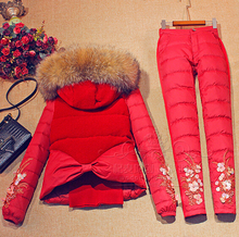 2016 Winter Jacket Women down coat fur hooded vest down coats vest+pant+underwear women's suit thicken set outerwear trousers