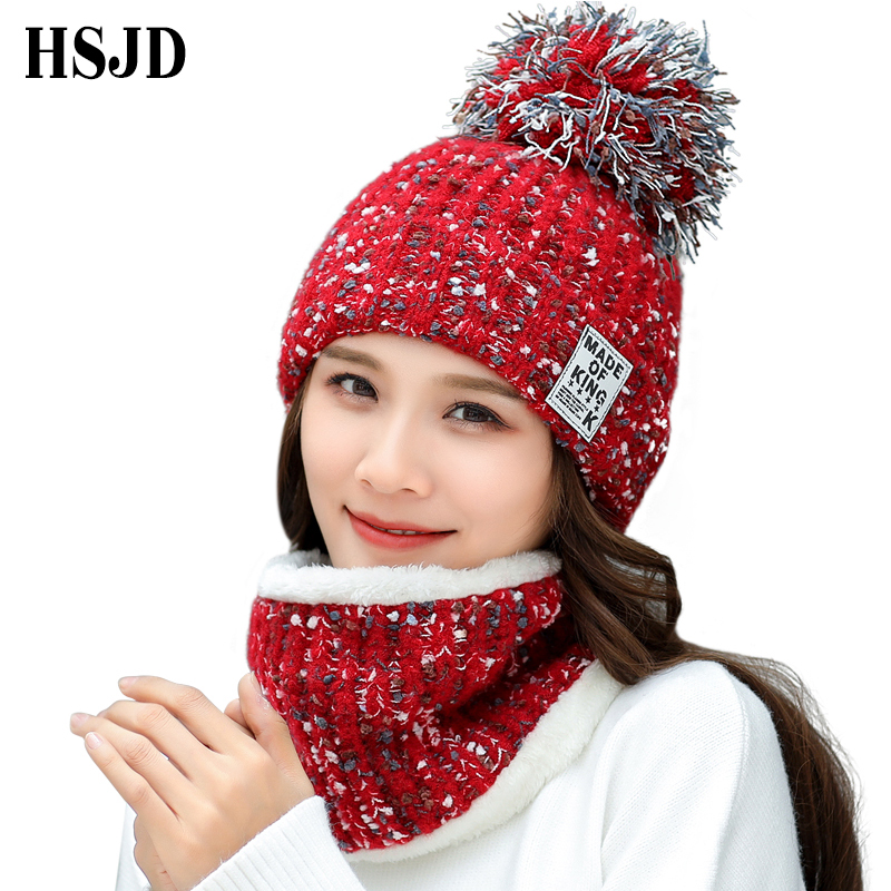 2018 New Winter Women Snowflakes Warm Knitted Hats Scarf Set Thick Knitting Hat with Pom pom   Skullies     Beanies   Sweet Girl Caps