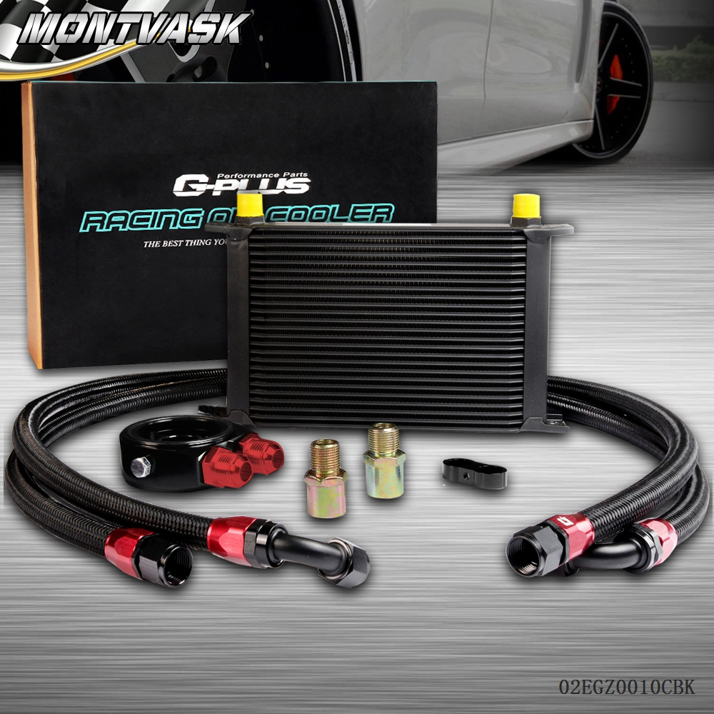 25 ROW AN-10AN Universal Engine Transmission Oil Cooler + Filter Adapter Kit