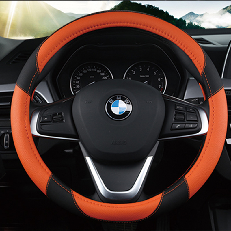 KKYSYELVA 7 Colors Auto Car Steering Wheel Covers Car Styling 38cm 15inch Leather Steering Cover Car Interior Accessories in Steering Covers from Automobiles Motorcycles