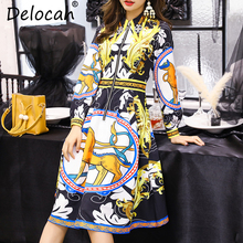 цены Delocah Autumn Women New Dress Runway Fashion Designer Long Sleeve Gorgeous Beading Printed Slim Knee-Length Lady Dresses