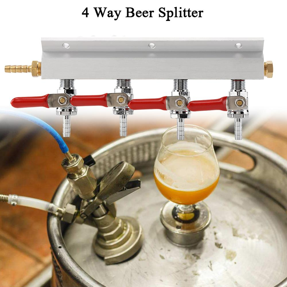 4 Way Beer Brewing Gas Manifold CO2 Distributor Manifold Splitter Beer Integrated Check Valves Homebrew Beer Making Brewing Tool