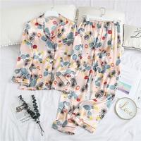 Print Cactus 2pcs Long Sleeve Shirt&pant Lovers Pajamas Set Sleepwear Women&men Sleep Suit Home Clothes Spring New Nightwear