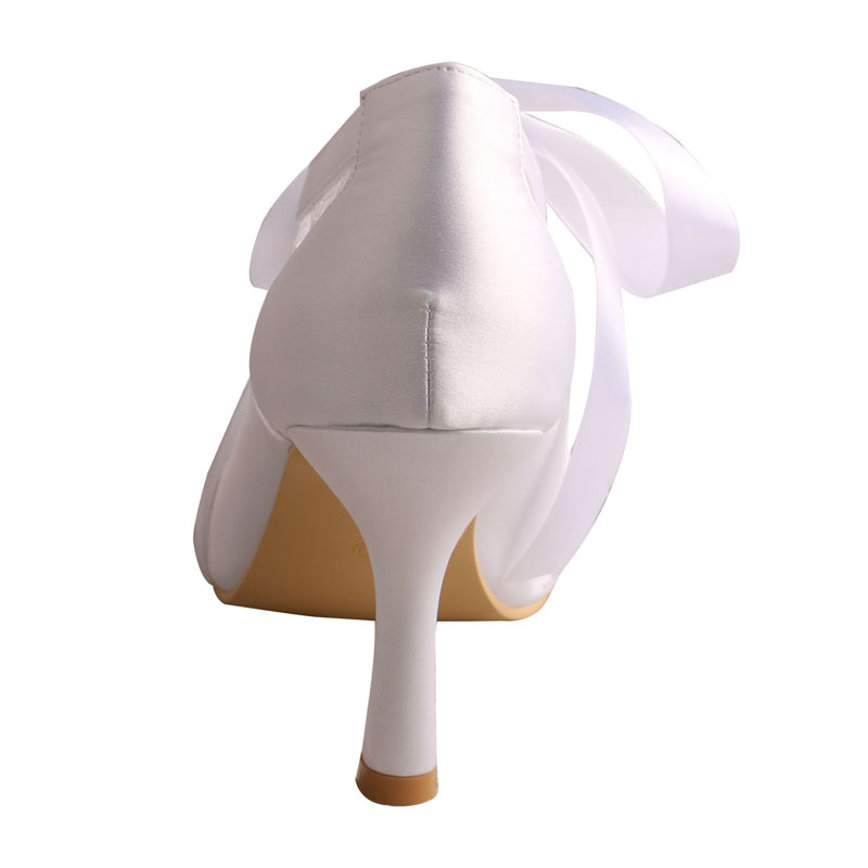 Talon Boot Ruban Orteil Mariée Haute blanc Personnalisé Chaussures Fermé Ivory Cravate Blanc De Xq1OHd
