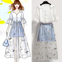 2019 New Summer Women V Neck Butterfly Sleeve Solid Shirt+Embroidery Mesh Patchwork Mesh Skirt Sets Lady Sweet Casual Suit Z246