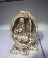 Old 18c Silver Statue/ Sculpture the East Santa Claus And Cranes,best Collection&adornment,free Shipping