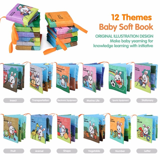 Tumama Educational Toy Soft Cloth Books 12 Themes