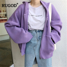 RUGOD Spring women coats plus size solid loose long sleeves round neck pocket cotton zipper casual korean style autumn modis
