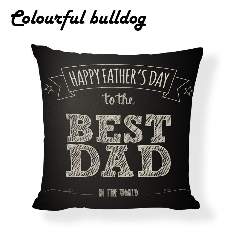 2017 New Fathers day Pillow Cushion Case Mustache Quotes Capa Almofada Gaming Chair 17.7inch Seat Car Decor Summer Funda Cojin