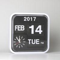 Retro Flip Clock Wall Modern Design Auto Flip Page Creative Clocks with Calendar Clocks Extra Large Digital Wall Clock 12