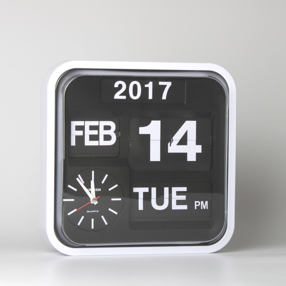 Retro Flip Clock Wall Modern Design Auto Flip Page Creative Clocks with Calendar Clocks Extra Large Digital Wall Clock 12