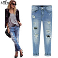 High-waist hole straight full-length cool regular washed denim boyfriend style pants 2017 new spring fashion women jeans