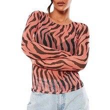 блузка женщины плюс размер женские топы и кофточки перспектива сетки нерегулярные полосы Шеин о Женские напечатано полного рукава сверху Z4 в аренду
