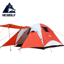 2014 New style Hewolf high quality double layer waterproof camp 3-4 persons camping tents travel family bivvy tourist tent