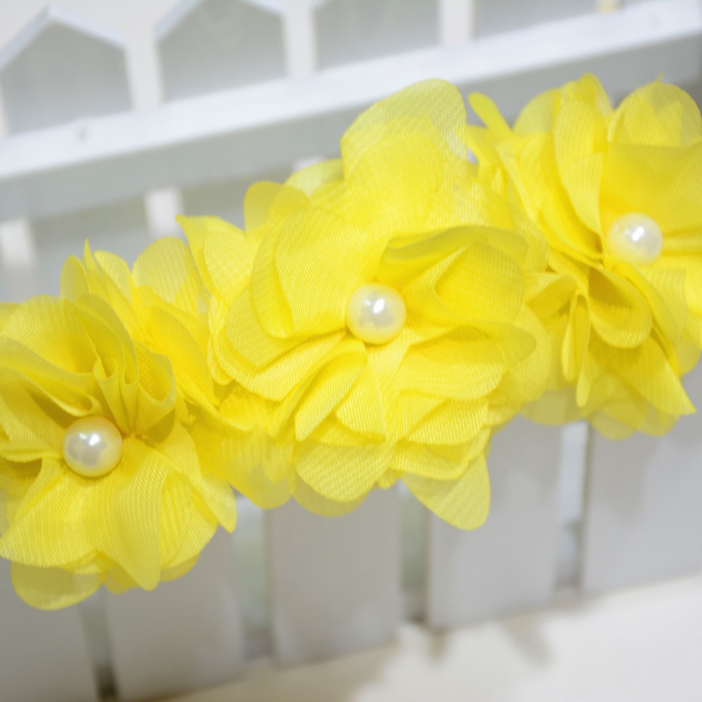Hot fashion hair accessories headband yellow flower with pearl style hot fashion hair accessories headband yellow flower with pearl style polyester hair band rope pin for baby children kids girls in hair accessories from mightylinksfo