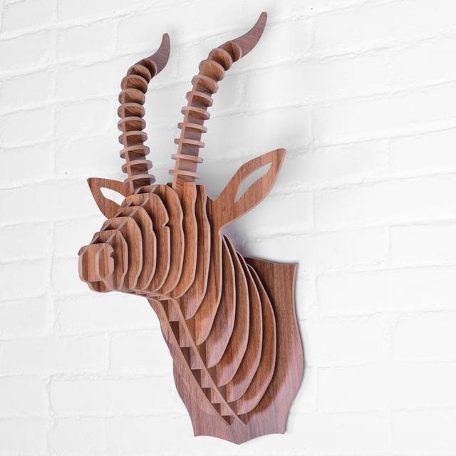 1Set New Creative Wooden Animal Wall Hanging 5MM MDF Wood Goat Head  Polished Furnishing Home Decor