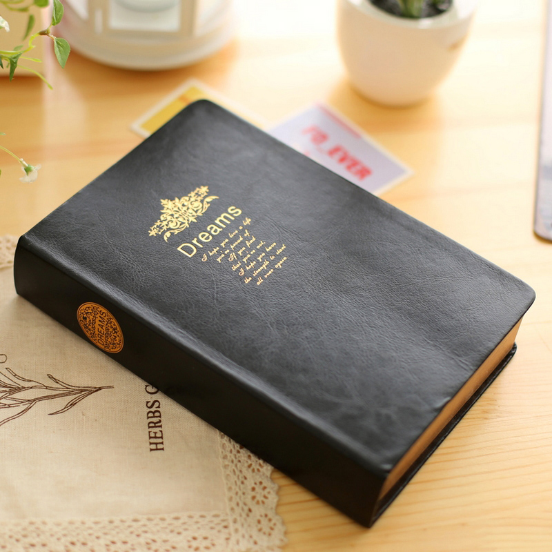 Vintage Gold Dream Hardcover Notebook Creative Black Leather Cover Blank Diary Journal Notepad Office School Stationery Supplies