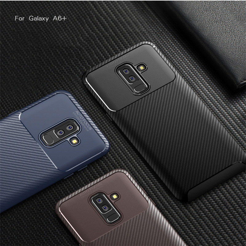 Galleria fotografica Luxury Carbon Fiber Anti-knock Soft TPU Case For Samsung Galaxy S9 j4 Plus A6 A8 Plus for J3 J4 J6 J7 2018 J2 Pro Note 9 covers