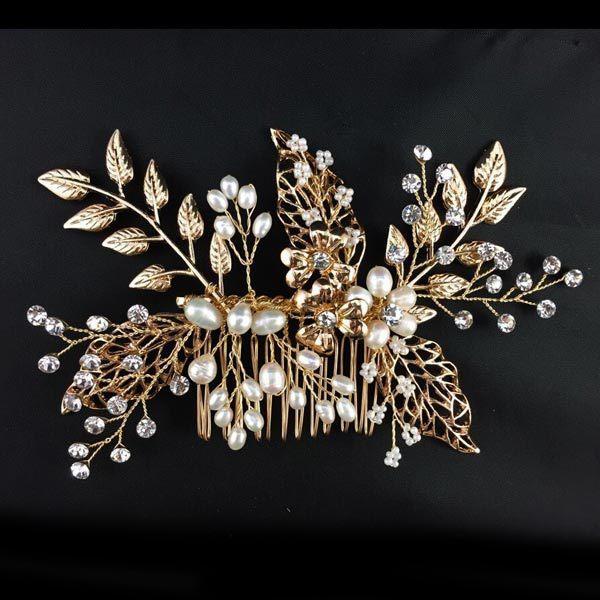 2015 золото ручной перлы цветка гребень свадебные аксессуары для волос свадебные украшения стразы кристалл комбс пен свободный корабль 155