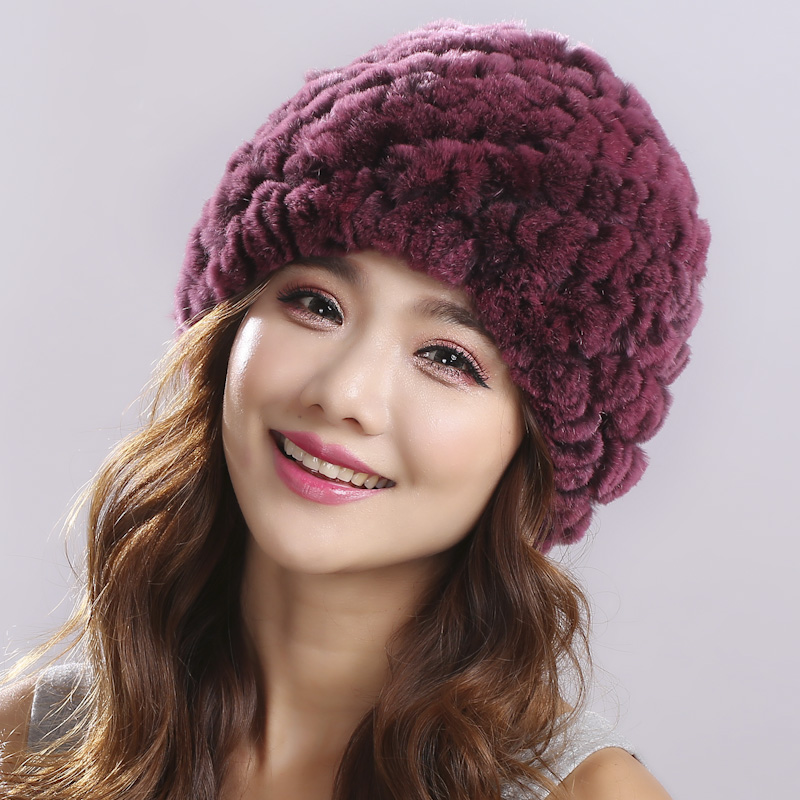 Women Hat Winter & Fall Beanies Knitted Hats For Woman Rabbit Fur Cap Autumn And Winter Ladies Female Fashion Skullies#H9005 skullies female rabbit ear hat hat women s hair cap fashion cap winter cap fpc012