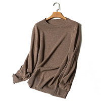 Kashana Men S 100 Pure Cashmere Sweater Solid Color Long Sleeves Crew Neck High Quality Knitted