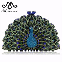 Noble Lady Luxury Crystal Clutches Party Handbag Peacock Shape Women Wedding Clutch Evening Bag Green Gold