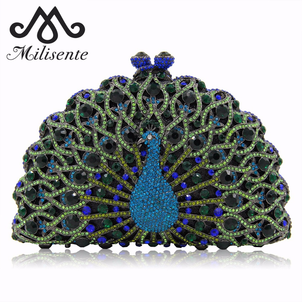 Milisente Green Gold Peacock Shape Clutches Women Animal Luxury Crystal Evening Bags Party Bag Lady Wedding Clutch Bag
