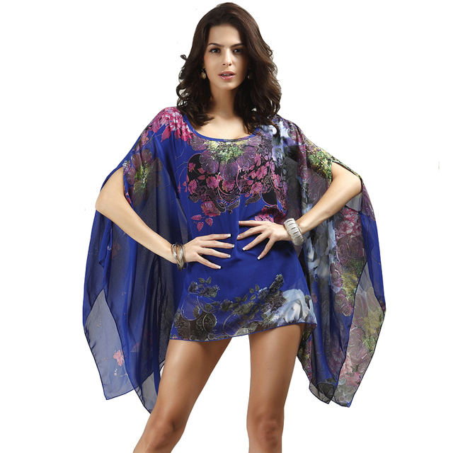 Women Blouses Summer Tops large Size Batwing Sleeve Flower Oversize Chiffon Blouse Shirts Chemisier Camisas Femininas