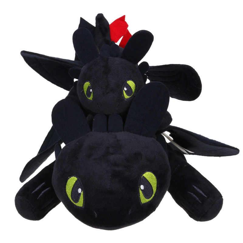 27-60cm anime como treinar o seu dragão brinquedos de pelúcia toothless tizi q versão fúria da noite macio recheado boneca de brinquedo de natal crianças presentes