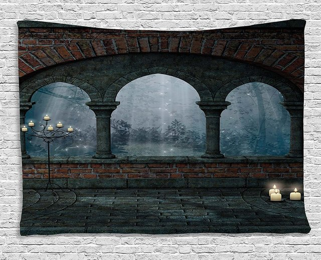Gothic Decor Tapestry Medieval Castle At Night With Old Arch And Candles Middle Age Misty Image