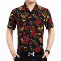 2016 Nuevo estilo del hombre de moda de verano multicolores colores flores tropicales deja camisa de flores de manga corta impresa