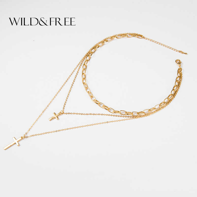 Wild&Free Bohemia Gold Color Double Cross Layered Necklace Chain Choker Pendant Necklace Christmas Gifts For Women Jewelry