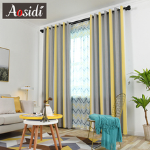 AOSIDI Colorful Striped Curtains For Living Room Windows Modern Colorblock Blackout Bedroom Yarn Dyed Drapes Thick