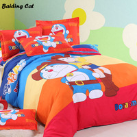 Home Textiles 4pcs Bedclothes,Child Cartoon Pattern Doraemon Bedding Set Include Duvet Cover Bed Sheet Pillowcases Free Shipping