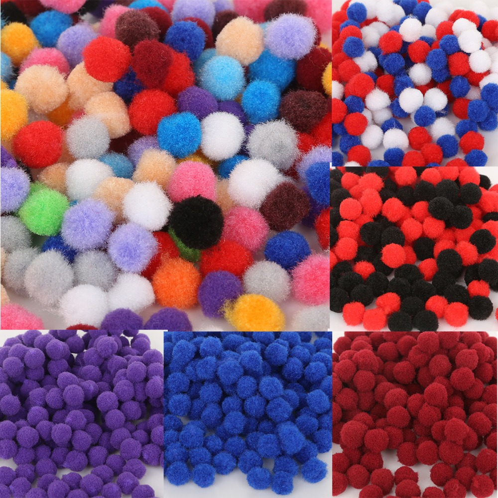 Mix Color 300pcs/lot 10mm Pompoms Soft Round Wedding Pom Poms Balls DIY Sewing Wedding Scrapbooking Decoration Accessories