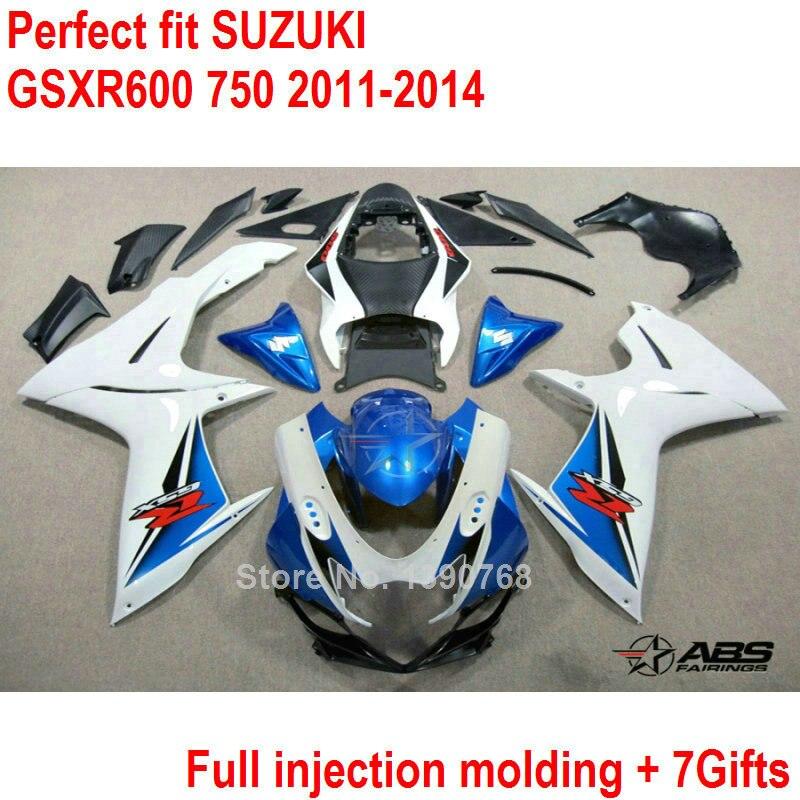 Injection Bodywork fairing kit for Suzuki GSXR600 GSXR750 11 12 13 14 white blue fairings K11 GSXR 600 750 2011 2012 2013 2014