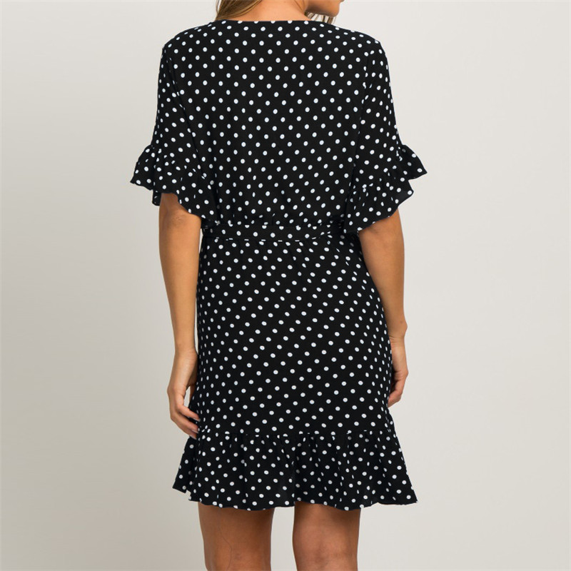 Summer Dress 19 Boho Style Beach Dress Fashion Short Sleeve V-neck Polka Dot A-line Party Dress Sundress Vestidos 18