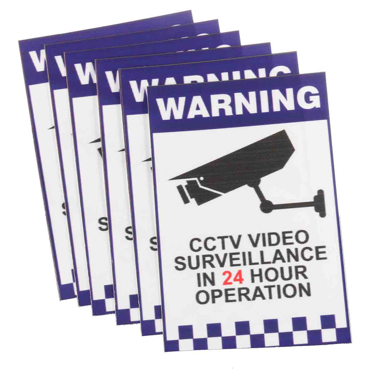 NEW Safurance 6x Warning CCTV Security Surveillance Camera Sign Warning Decal Sticker 66x100mm Home Security Safety 24 hours cctv security warning board transparent black multi colored