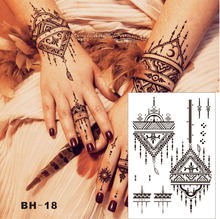 efd5ea86e #BH-18 Triangle Simple Black Henna Temporary Tattoo for both Hands Inspired  Body Sticker