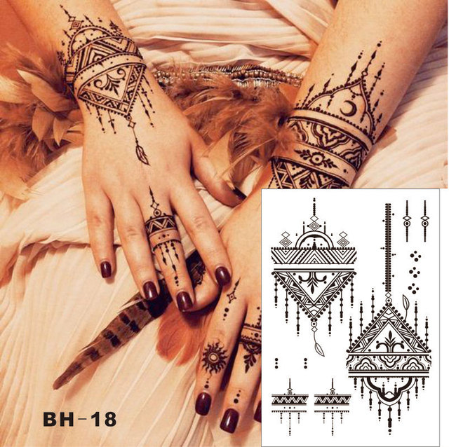 Bh 18 Triangle Simple Black Henna Temporary Tattoo For Both Hands