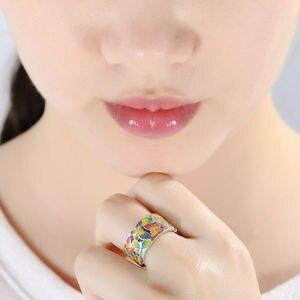Image 5 - SANTUZZA bague en argent pour les femmes 925 en argent Sterling papillons anneaux pour dames cubique zircone anneau fête mode bijoux émail