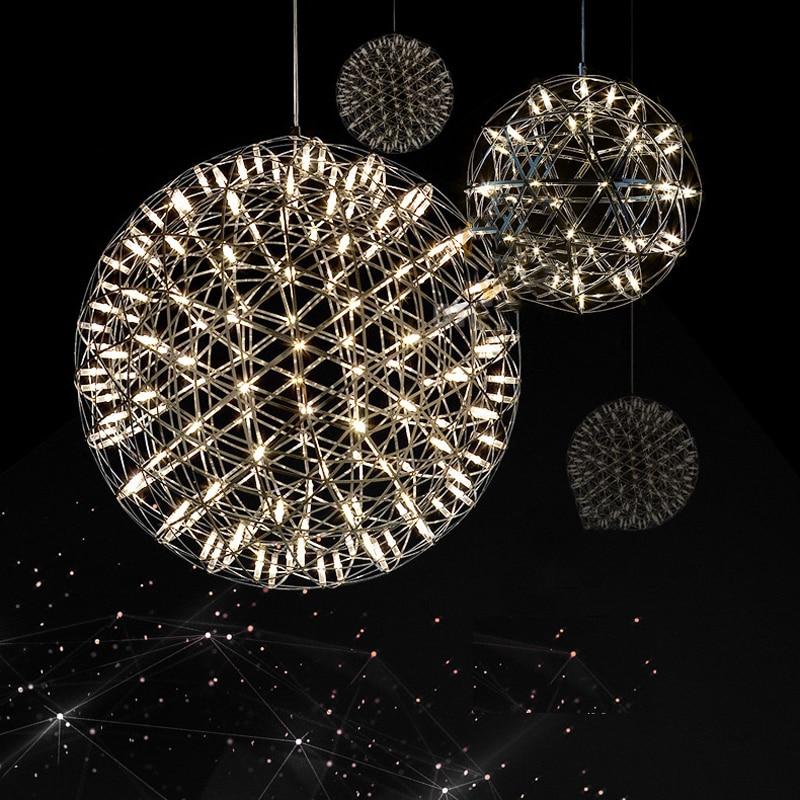 Moderne Lustre Étincelle balle LED Pendentif luminaire Feu D'artifice Boule en acier inoxydable pendentif Lampes d'éclairage décoratifs pour la maison 220 V